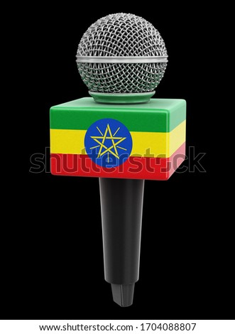 3d illustration. Microphone and Ethiopia flag. Image with clipping path