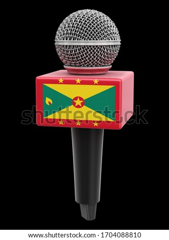 3d illustration. Microphone and Grenada flag. Image with clipping path
