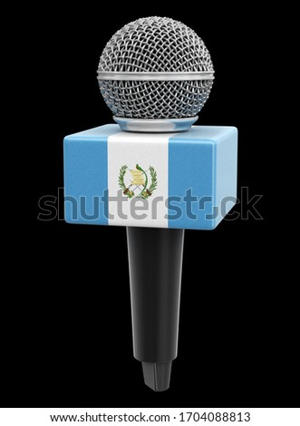 3d illustration. Microphone and Republic of Guatemala flag. Image with clipping path