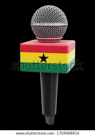 3d illustration. Microphone and Ghana flag. Image with clipping path