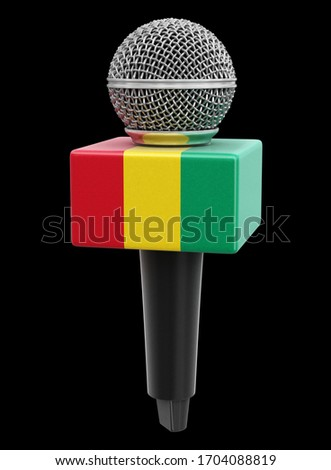 3d illustration. Microphone and Guinea flag. Image with clipping path