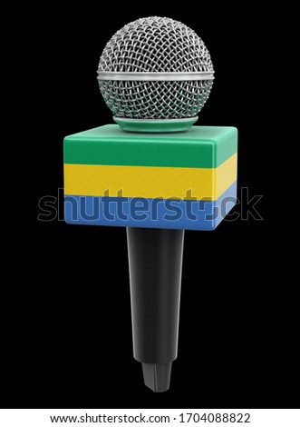 3d illustration. Microphone and Gabonese flag. Image with clipping path