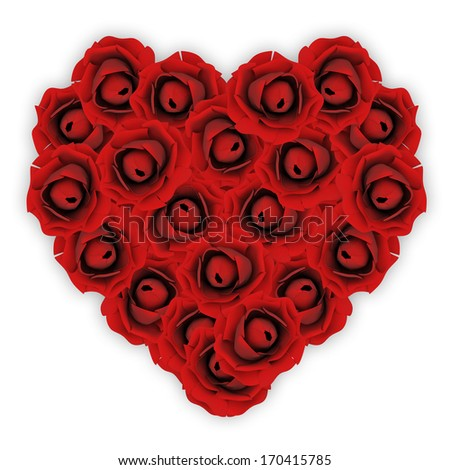 Heart made from 21 Red Roses isolated on white background #170415785
