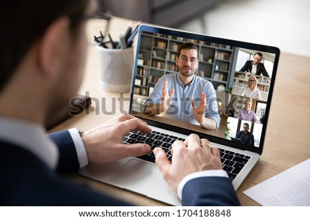 Businessman boss leader leads distant communication diverse businesspeople involved in group videocall conversation discuss common project, partners negotiating. Modern technology and business concept #1704188848