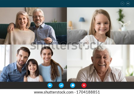 Head shot portraits webcam laptop screen view diverse people using videoconference application enjoy online meeting. Multi generational family involved in group videocall distant communication concept Royalty-Free Stock Photo #1704188851