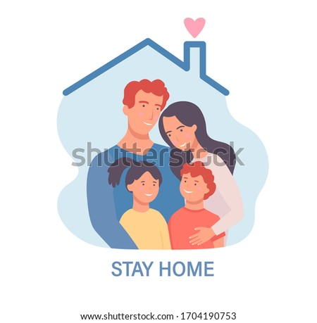 Family in isolation.Stay home template for banner, poster, flyer.Awareness social media campaign and coronavirus prevention. Quarantine during pandemia. Health care concept. Vector illustration. #1704190753