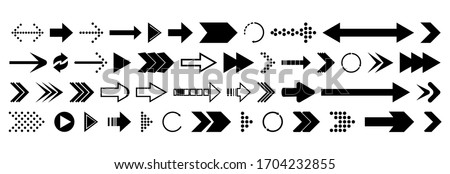 Arrows collection. Big set of Arrows Vector Icons. Arrow different shapes in modern simple flat style for web design.
