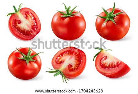 Tomatoes isolated. Tomato whole, cut, half, slice on white. Tomato with clipping path. Tomato set. #1704243628