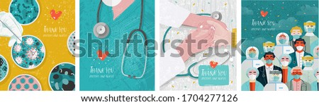 Thank you doctors and nurses. Vector illustration for the epidemic of coronavirus covidum-19. Drawings of vaccine, virus, laboratory, hands, doctor, nurse, and stethoscope for poster or cover  #1704277126