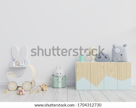 Mockup wall in the children's room on white wall  background,3d rendering #1704312730