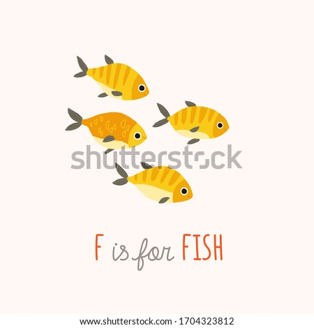 Cute yellow tropical fish. ABC Kids Wall Art. Alphabet Card. Nursery alphabet poster. Playroom decor. F is for Fish. clipart10 hand drawn illustration isolated on white background
