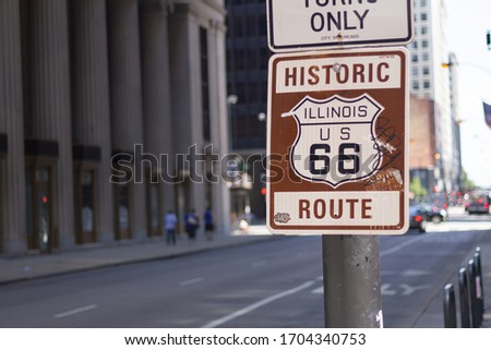 Route 66 sign in Illinois state #1704340753