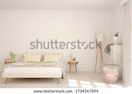 White bedroom interior. Scandinavian design. 3D illustration #1704367894