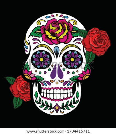 Sugar skull with flower dead head skull vector illustration