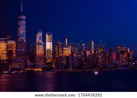 Amazing panorama view on New York City skyline and Downtown Manhattan from Jersey City during night