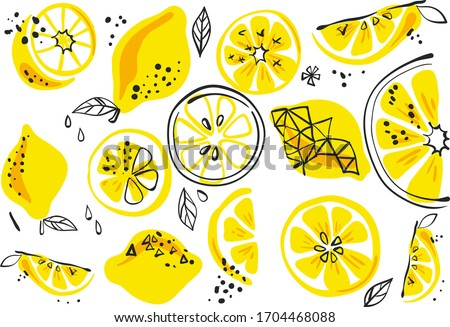 summer fruit berry background, lemon on a white background, summer print pattern #1704468088
