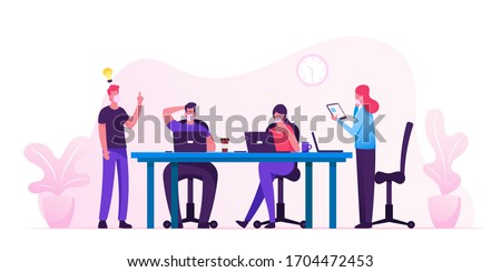 Business People Characters in Medical Masks Sitting at Desk at Board Meeting Discussing Idea in Office. Team Project Brainstorm, Teamwork Process during Covid19 Quarantine. Cartoon Vector Illustration #1704472453