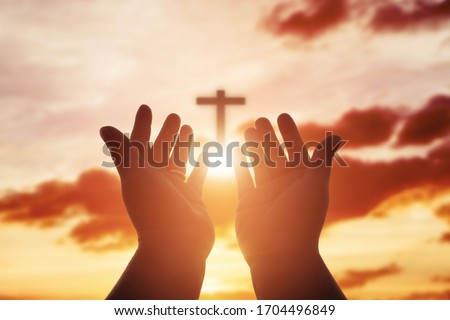 Human hands open palm up worship. Eucharist Therapy Bless God Helping Repent Catholic Easter Lent Mind Pray. Christian Religion concept background. fighting and victory for god #1704496849