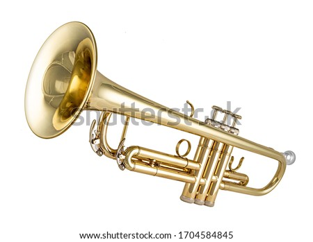 Golden shiny new metallic brass trumpet music instrument isolated on white background. musical equipment entertainment orchestra band concept. #1704584845