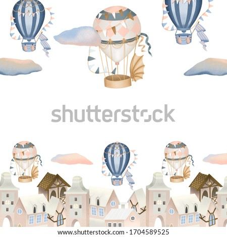 Hand drawn town and retro hot air balloons illustration, background for greeting card template