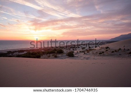 Sunset over Patara beach and the Aegean ocean, Antalya province, Turkey Royalty-Free Stock Photo #1704746935