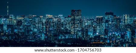 Night view of Tokyo, JAPAN Royalty-Free Stock Photo #1704756703