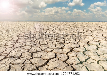 Landscape dried and cracked background. The soil dry land cracked ground surface with sky and cloudy. #1704771253