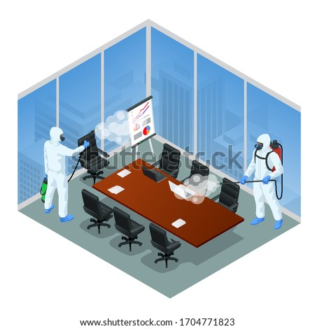 Isometric man wearing a protective suit disinfects office workspace with a spray gun. Virus pandemic COVID-19. Prevention against Coronavirus disease COVID-19.