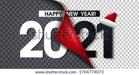 2021 Happy New Year Black Promotion Poster or banner with open gift wrap paper. Change or open to new year 2021 concept.Promotion and shopping template for New Year.Vector EPS10 #1704774073