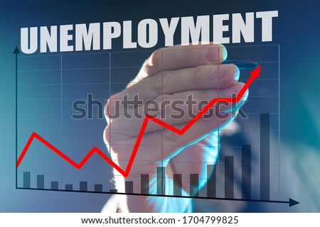 Rising unemployment during recession. Economic crisis has led to unemployment. Man depicts a graph. Growing graph is drawn on glass. Stylus in the hand. Large Aplan unemployment logo. Labor market. #1704799825