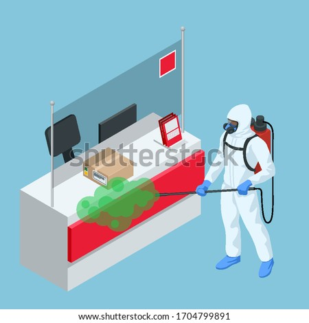 Isometric man wearing a protective suit disinfects Post Office with a spray gun. Virus pandemic COVID-19. Prevention against Coronavirus disease COVID-19.