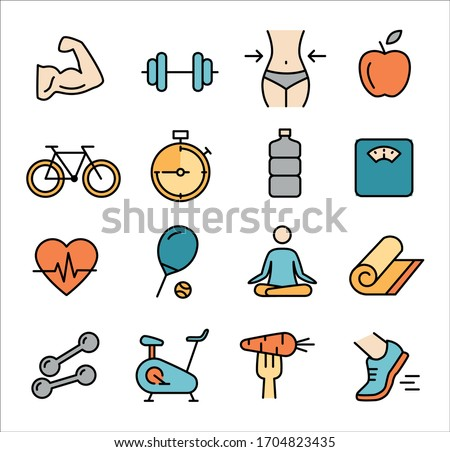 Collection of icons related to healthy lifestyle, healthy eating, diet, exercise, relaxing #1704823435