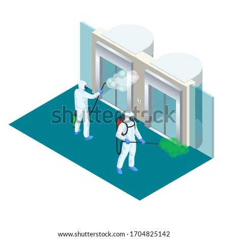 Isometric man wearing a protective suit disinfects passenger or cargo elevators with a spray gun. Virus pandemic COVID-19. Prevention against Coronavirus disease COVID-19.