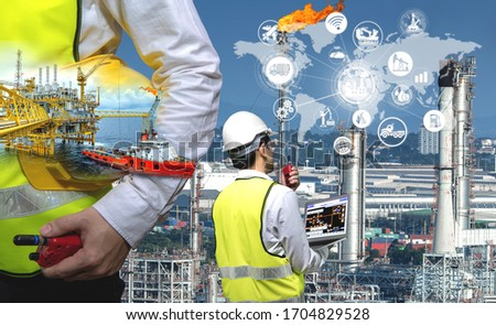 Industry 4.0 concept,Oil refining process of refinery plant and offshore drilling crude oil rig, Double exposure of engineer with energy system connection icon concept. #1704829528