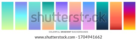 Collection of colorful smooth gradient background for graphic design. Vector illustration #1704941662