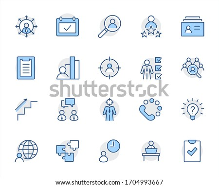 Set of Head Hunting Related Vector Line Icons. Contains such Icons as Career growth, Bulb, Candidate, Search, CV, Card Index, Outsource and more. Editable Stroke. 32x32 Pixel Perfect #1704993667