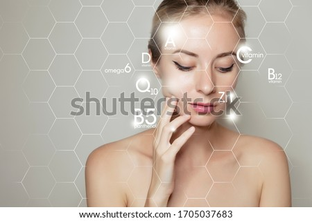 face lifting with graphic icons of vitamins and minerals for skin treatment #1705037683