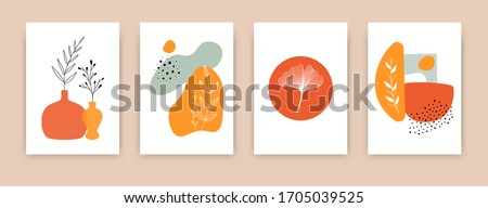 Doodle botanical abstract backgrounds. Set of trendy hand drawn shape modern plant elements pastel colors isolated background. Minimal design posters for decor, vector illustration #1705039525