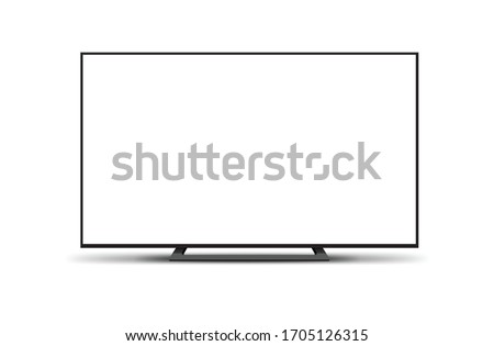 4K TV flat screen lcd or oled, plasma, realistic illustration, White blank monitor mockup. wide flatscreen monitor mockup #1705126315