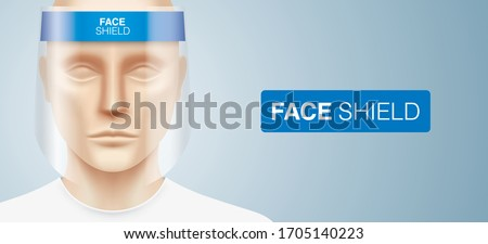 White man with a plastic face shield, standing on a gray gradient background. Closeup shot of a person, with a virus protection mask on his face. Healthcare banner vector design. #1705140223