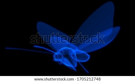 Blue coloured Butterfly in Black background 3d rendering #1705212748