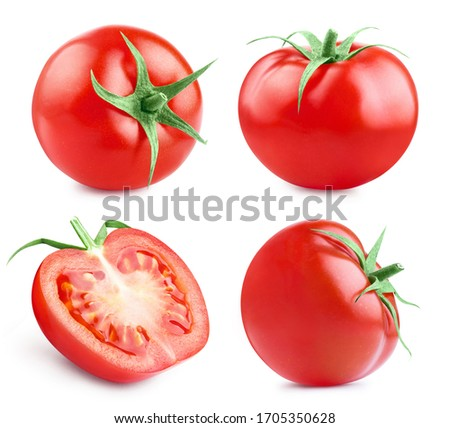 Set of delicious red tomatoes, isolated on white background #1705350628