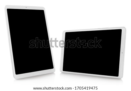Set of white tablet computers, isolated on white background, perspective views #1705419475