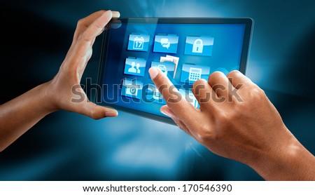 a woman hands open a folder on a tablet #170546390