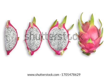 Top view(Flat lay)of Dragon fruit half slice organic isolated white background view. Pitahaya. Fruit.