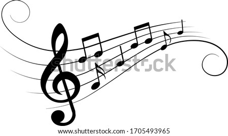 Music notes, with curves and swirls, vector illustration. #1705493965