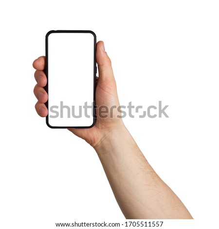 man hand holds smartphone with white screen. Isolated #1705511557