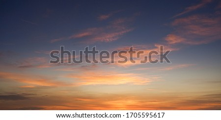 Sunrise Sunset Sky with Clouds Royalty-Free Stock Photo #1705595617