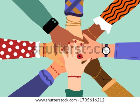 Hands of diverse group of people putting together. Concept of community, support, partnership, teamwork, social movement, friendship and cooperation. Flat cartoon vector illustration Royalty-Free Stock Photo #1705616212
