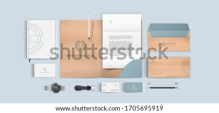 Creative corporate style for wood or furniture company. Vector branding identity template set. Royalty-Free Stock Photo #1705695919